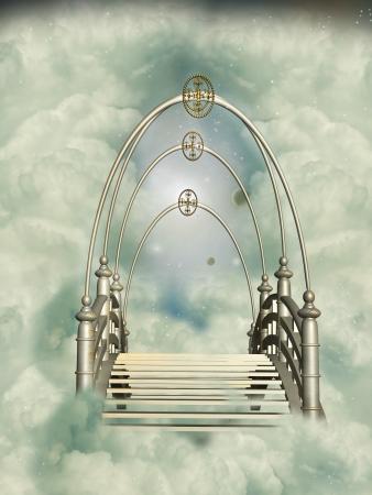 manipulation:  Fantasy golden bridge in the sky with stars