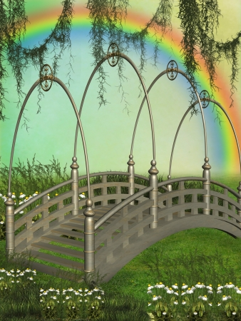 rainbow scene: Fantasy bridge in the garden with rainbow Stock Photo