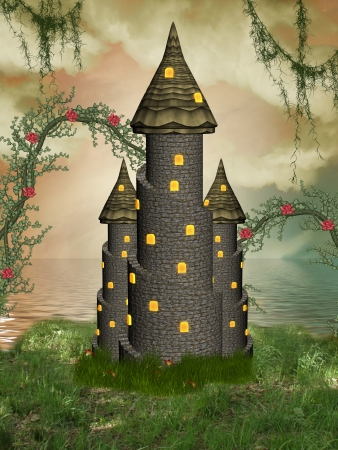 fairytale castle: fantasy castle near the sea with flowers