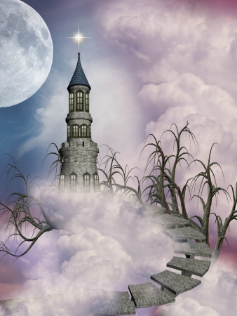 fantasy castle in the sky with trees and stairway