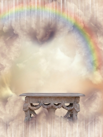 Fantasy Landscape in the sky with rainbow photo