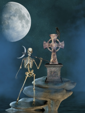skeleton in a stone with cross and black bird