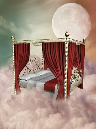 scenario: princess bed in the sky with canopy