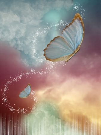 Big  butterflies in the sky with fantasy sky
