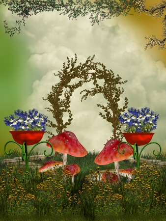 scenario: fantasy garden with  mushroom and flowers and foliage Stock Photo