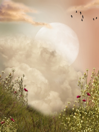 Magic landscape moon with flowers and birds Stock Photo