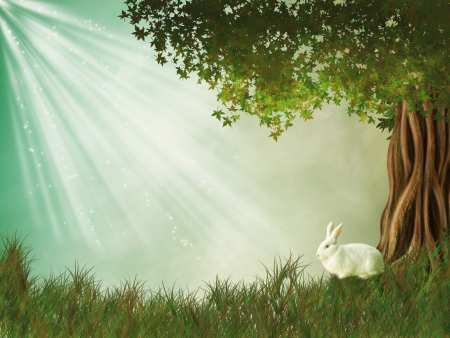 Fantasy landscape with tree and rabbit photo