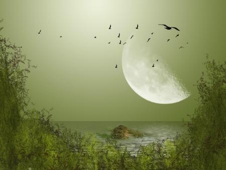 Grote maan met vogels in het meer