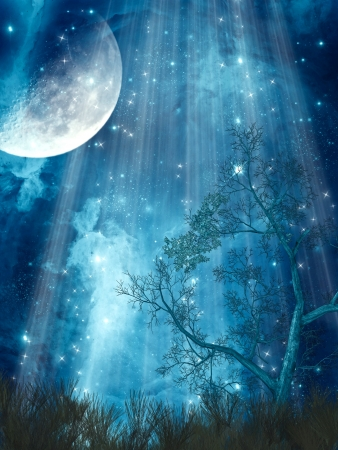 fantasy landscape: fantasy landscape with big moon in the forest Stock Photo