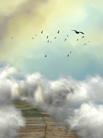 shadowy: fantasy bridge in the sea with birds