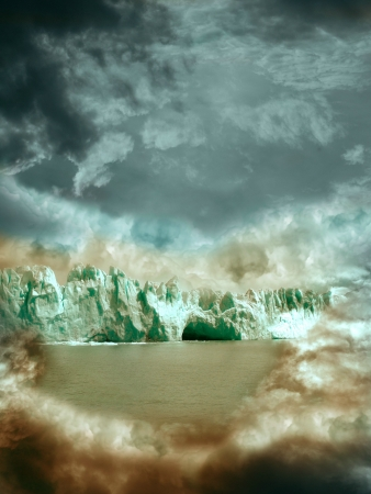 fantasy landscape with glacier in the  clouds photo