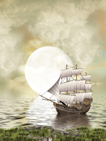 Fantasy Landscape in the ocean with old ship photo