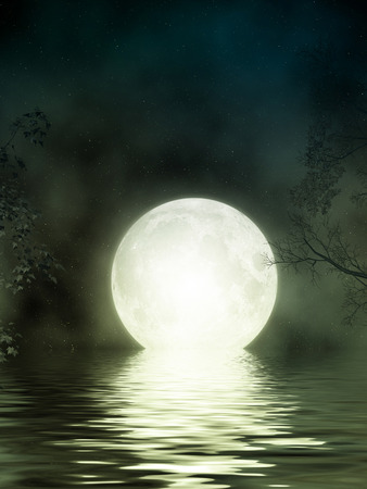 Fantasy Landscape in the lake with big moon photo
