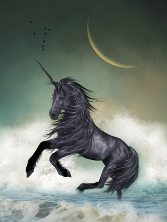 fairytale background: Unicorn in the ocean with big moon