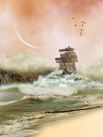 Fantasy Landscape in the ocean with boat photo