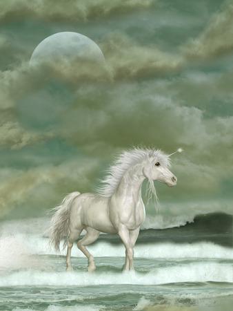 Fantasy witte eenhoorn in de oceaan met grote maan Stockfoto