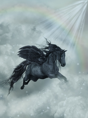 pegaso: Paisaje de la fantas�a con Pegaso en el cielo Foto de archivo