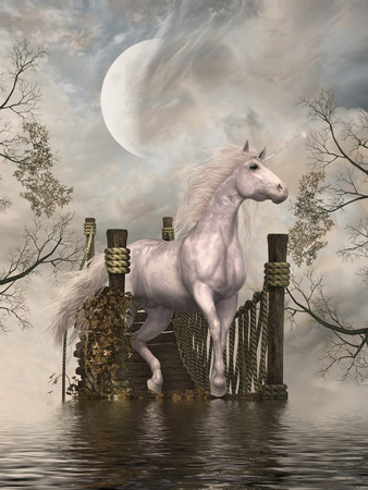 Fantasy landscape with white unicorn in a bridge photo