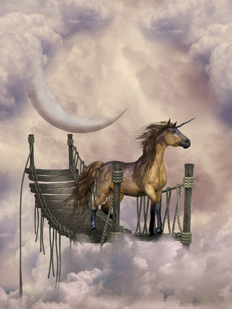 fantasy landscape inthe heaven with unicorn photo