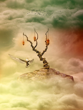 Fantasy Landscape in sky with eagle and birds