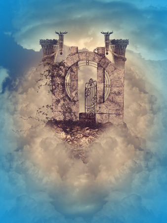 floating island in the sky with castle