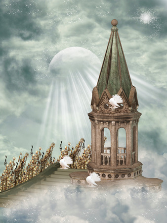 fairy tale princess: Fantasy Landscape in the sky with doves