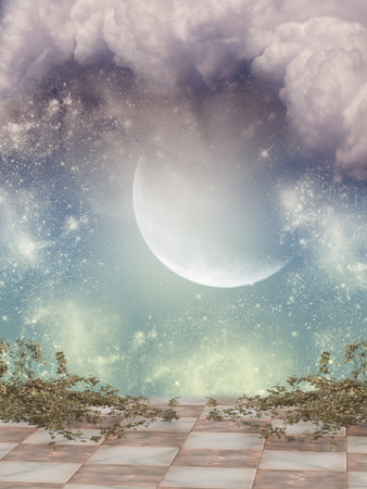moon flower: Fantasy Landscape in the sky with balcony Stock Photo