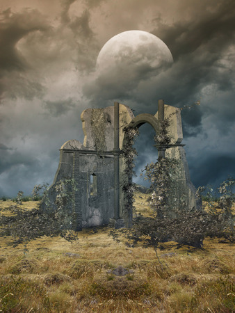 Fantasy Landscape in a field with ruins