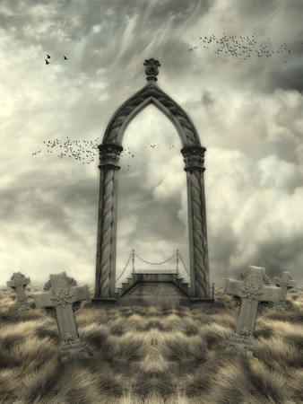 graves: Fantasy Landscape with arch and graves Stock Photo