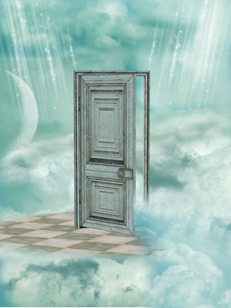 Fantasy Landscape in the sky with door photo