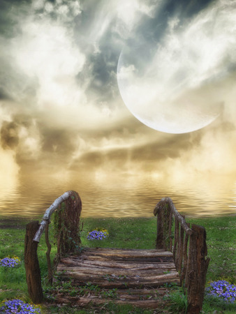 manipulate: Fantasy fairy Landscape in a lake with bridge