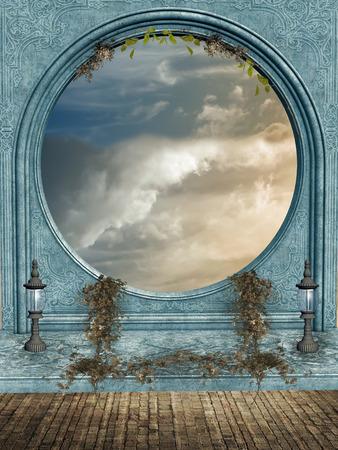 Fantasie fairie Landschaft Innen mit Lampen und Efeu Standard-Bild - 35821394
