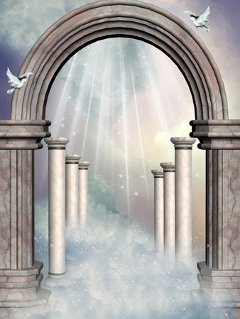 Fantasy fairy Landscape in the sky with portal