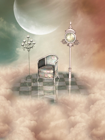 fantasy landscape: candelabra and armchair in a fantasy landscape Stock Photo
