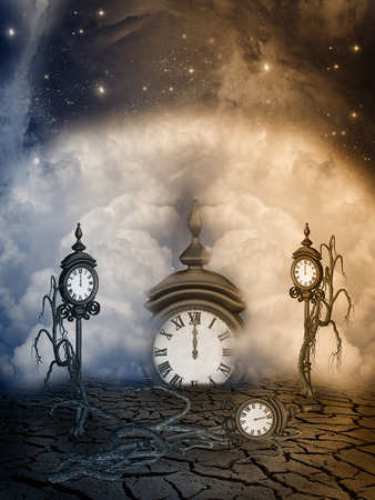 manipulation: Fantasy Landscape with clocks and branch