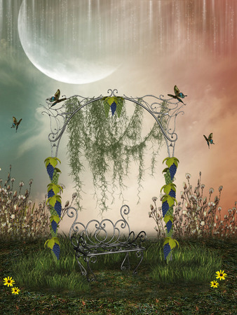 baby on chair: Fantasy Landscape in a field withairon chair and grape Stock Photo