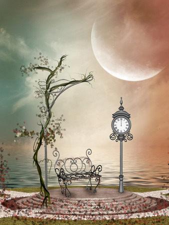 Fantasy Landscape in the lake with flowers and airon chair photo