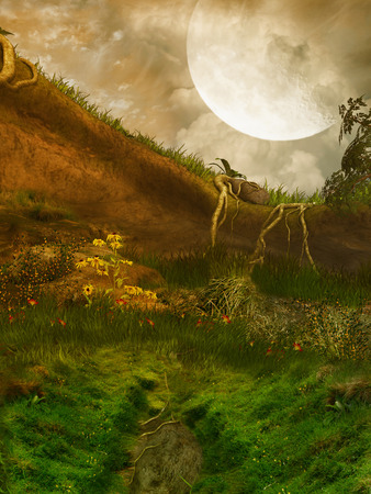 manipulate: Fantasy  Landscape in a cave with big moon