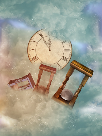 Fantasy  Landscape in the sky with sandglass Imagens