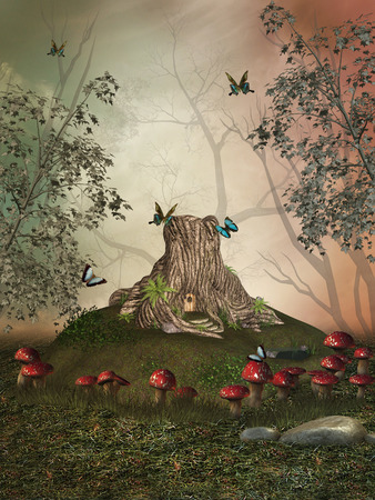 fairy tree: Fantasy landscape in the garden with trunk house