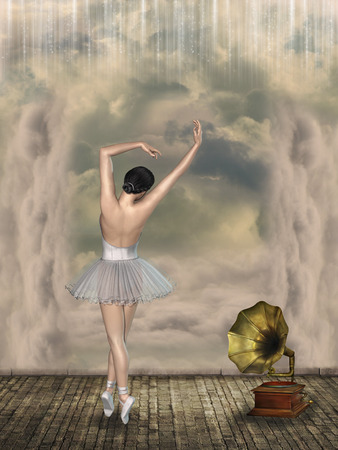 phonograph: ballet dancer in a fantasy scene with phonograph
