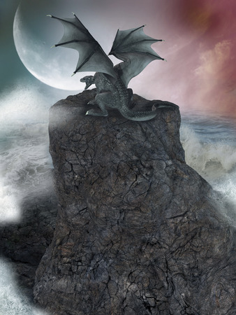 dragon: fantasy landscape with cliff and dragon in the ocean