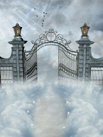 el cielo: Paisaje de la fantasía con la puerta abierta en el cielo