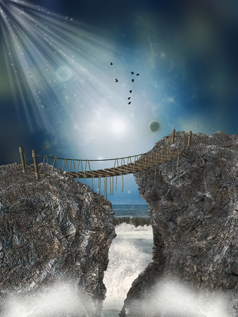 manipulate: Fantasy landscape with bridge wood in the ocean Stock Photo