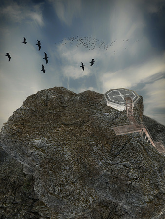 heliport: Fantasy landscape with heliport and cliff in the ocean