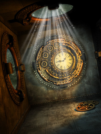 Fantasy scene with steampunk style in the sky Banque d'images