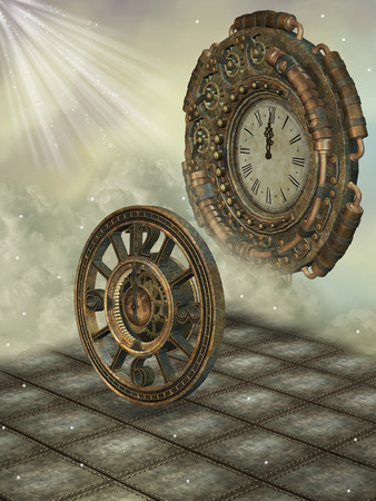 manipulate: Fantasy scene with steampunk style in the sky Stock Photo