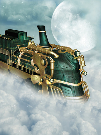 fantasy fiction: Fantasy scene with steampunk style in the sky Stock Photo