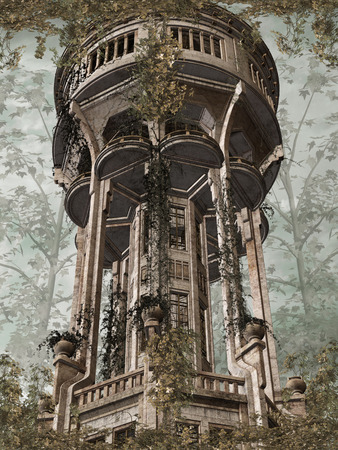 manipulate: Fantasy landscape in the sky with tower Stock Photo