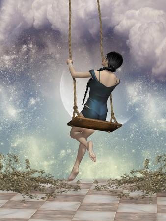 fairytale with big hammock in the sky